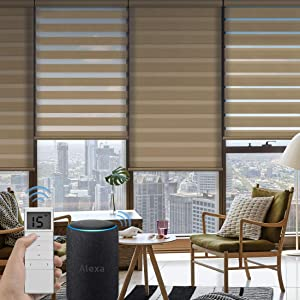 Graywind Motorized Zebra Sheer Blinds Compatible with Alexa Horizontal Light Filtering Window Shades Remote Roller Blinds with Valance for Smart Home and Office, Customized Size, Coffee