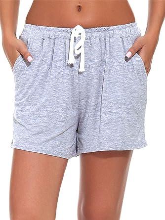13edfbaba8 Fayejove Women Solid and Striped Sleep Shorts Stretchy Cotton Pajama Shorts  - Grey - Large: Amazon.co.uk: Clothing