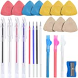 Tailors Chalk,Sewing Fabric Markers and Tracing Tools,10PCS Tailor's Chalk,4PCS Heat Erasable Fabric Marking Pens with 4 Refi