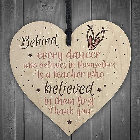 Red Ocean Thank You Dance Teacher Gift Wooden Heart Special Goodbye