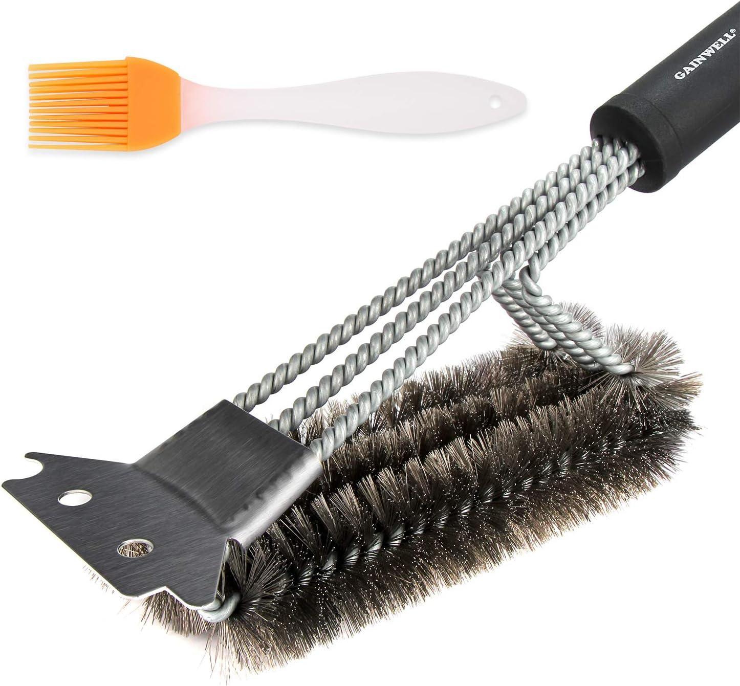 GAINWELL Conjunto de Cepillos y Raspadores para Parrilla - Accesorios de Limpieza de Alta Resistencia para Barbacoa - Cerdas Rígidas Seguras de Alambre de Acero Inoxidable - Mango Largo de 43cm