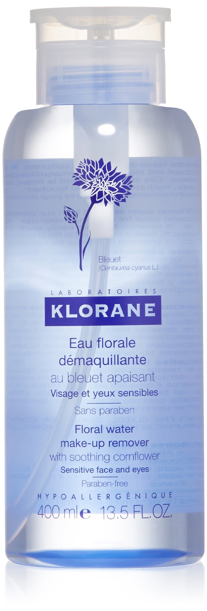 Klorane Floral Water Make-Up Remover With Soothing Cornflower, 13.5 fl. oz.