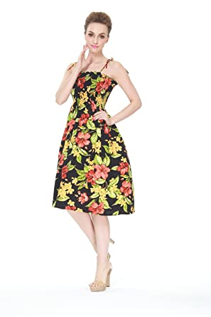 Hawaii Hangover Hawaiian Elastic Strap Luau Cruise Dress In Black Hibiscus Floral