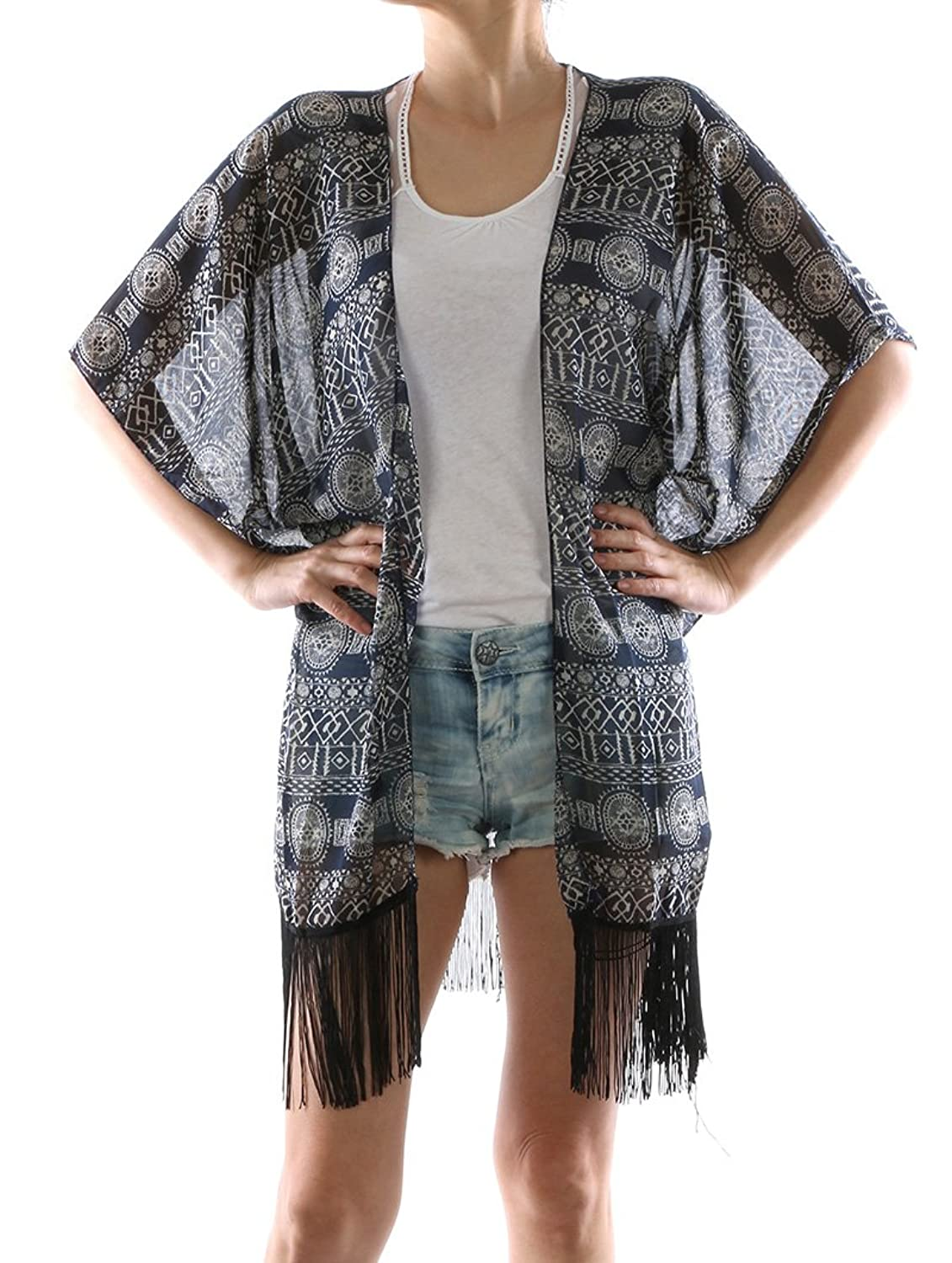 Parisian Chic Scarf Tribal Print Coverup Poncho Fringe Trimmed Edge One Size Chiffon Swimwear navy