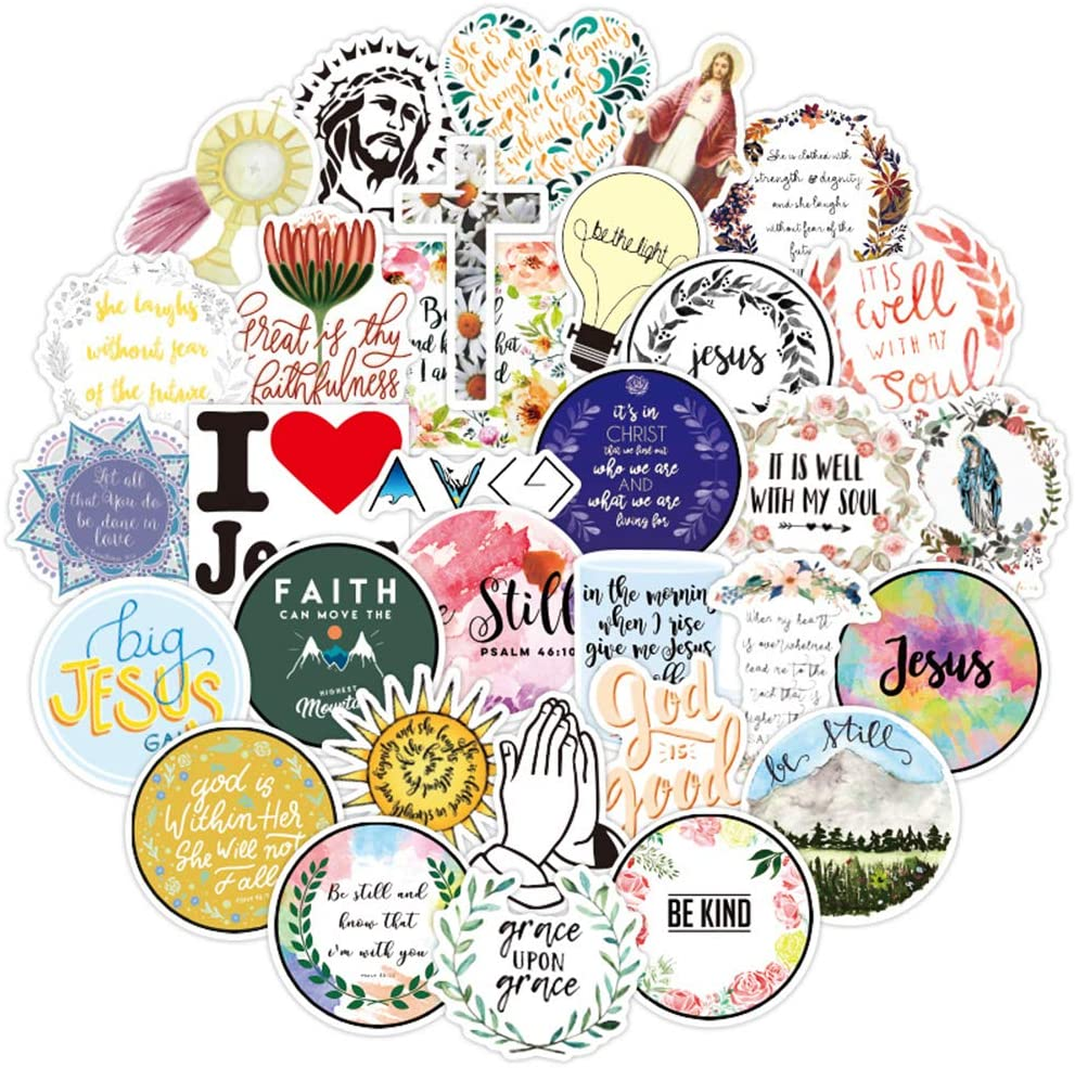 50 Pcs Jesus Stickers, The Christian Waterproof Vinyl Stickers for Water Bottles Laptop Car Luggage Cup Computer Mobile Phone Skateboard, Bible Faith Wisdom Words Decals for Teens and Adults
