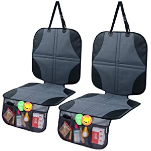 Car Seat Protector for Baby Child Car Seat 2-Pack, Ohuhu Baby Child Carseat Cover with Organizer, Prevents Indentions/Scratches/Scuffs of Leather Seat's Finish
