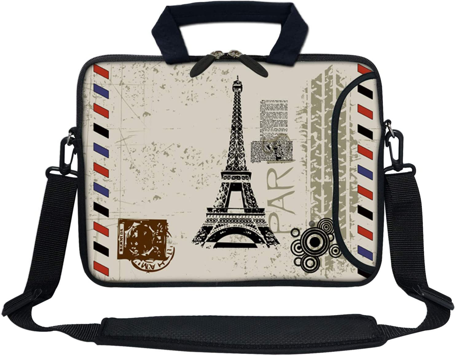 Meffort Inc 13 Inch Neoprene Laptop Bag with Extra Side Pocket Fits for 12.5 to 13.3 Inch Size Computer - Paris Eiffel Tower