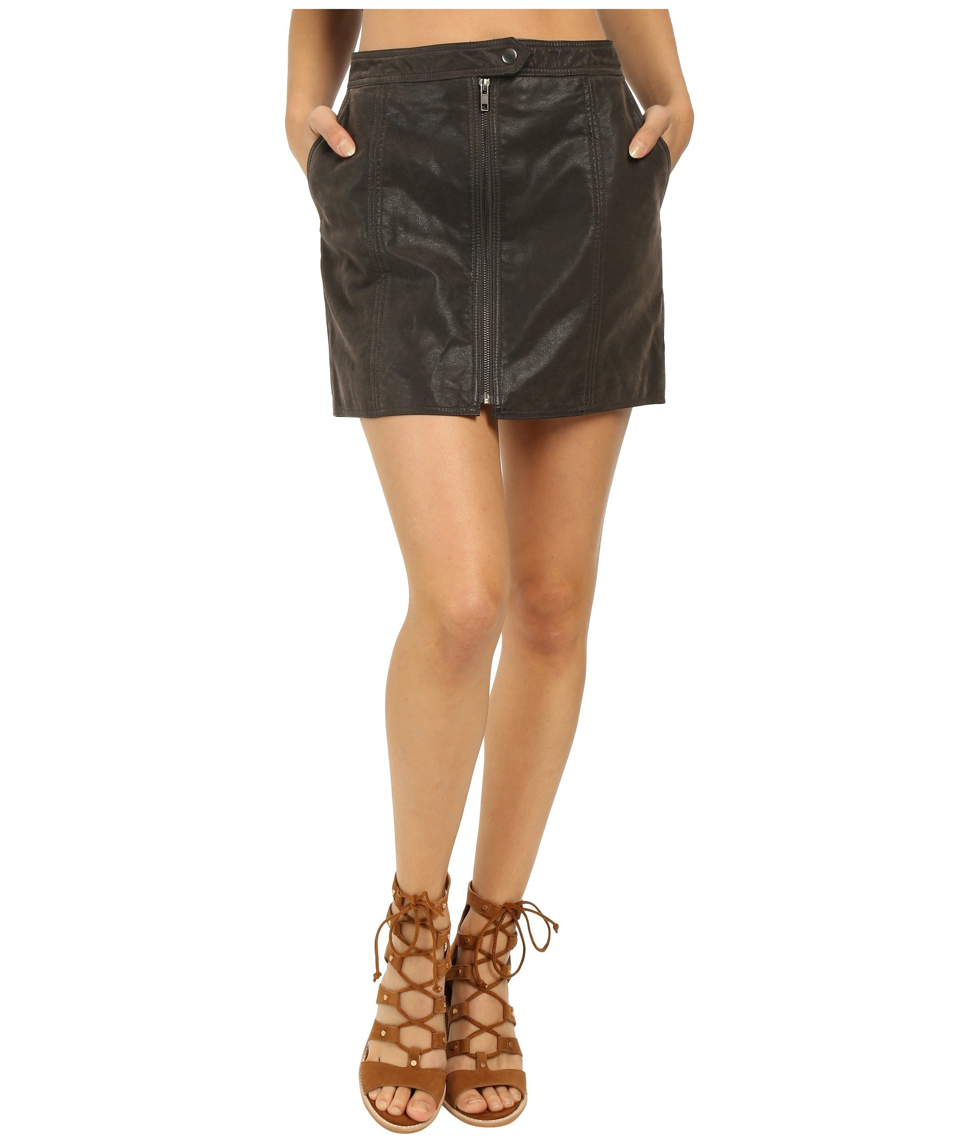 Free People Women's Get Into The Groove Faux Suede Crackle A-Line Skirt (6, Concrete)