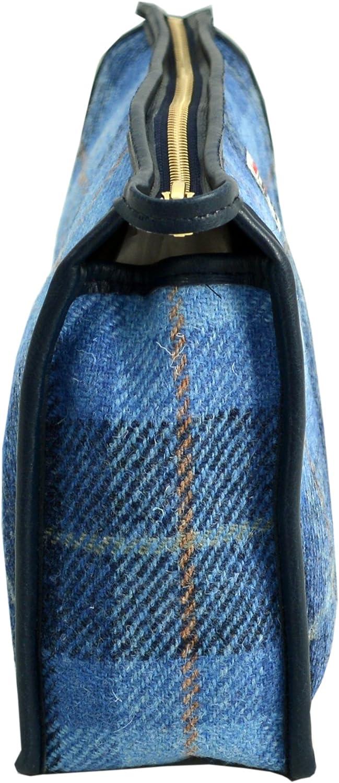 Bleu Mid Blue Vagabond Bags Harris Tweed Blue Check Large Holdall Bag Trousse de toilette 28 cm