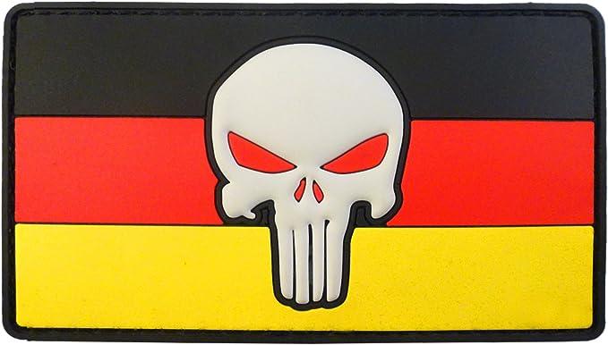 2after1 Punisher Skull Deutschland Germany Flag Morale Tactical Combat Pvc Rubber Fastener Patch Sport Freizeit