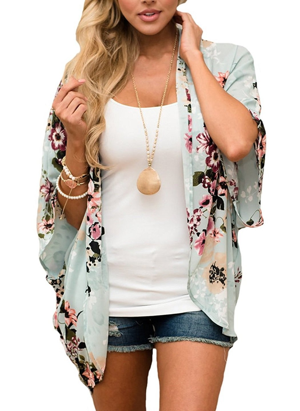 Chunoy Women Floral Kimono Loose Half Sleeve Shawl Chiffon Casual Cardigan Green Large