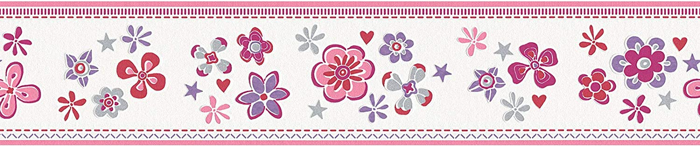 = 0,65 m/² Rouge//Violet//Mauve//Blanc Rouleau Frise papier peint fleuri Tapisserie fleu florale enfant 941273 94127-3 Esprit HOME Esprit Kids 5 5,00 x 0,13 m