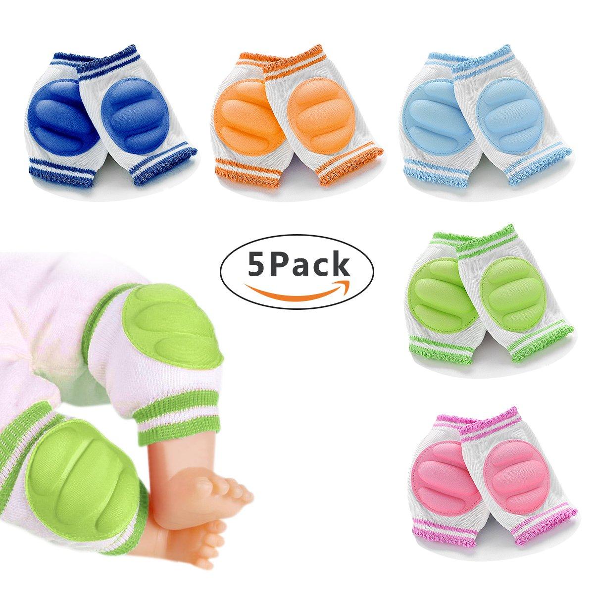 Unsex 5xpacks Cotton Baby Toddlers Kneepads Crawling Anti-Slip Knee Leg Warmers 4.7x3.5inch (5Pack SuperBK)