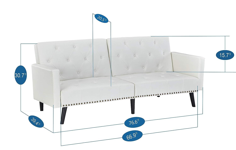 Amazon.com: Naomi Home Sofá convertible de futón, Cuero ...
