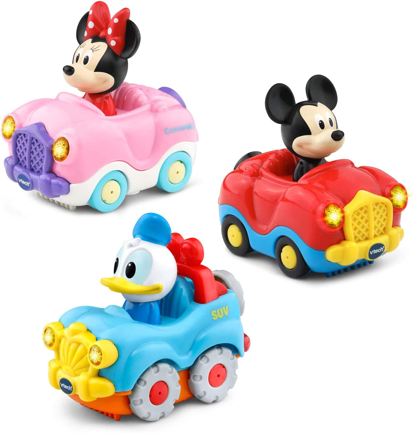VTech Go! Go! Smart Wheels Disney Starter Pack with Mickey Mouse Convertible, Minnie Mouse Convertible and Donald Duck SUV, Multicolor