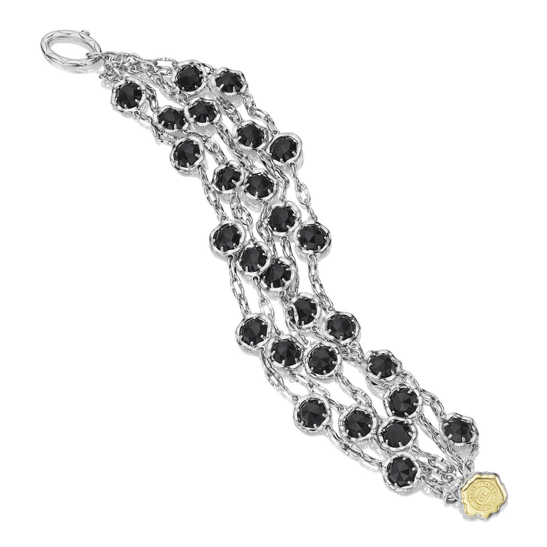 Tacori SB100Y19 Sterling Silver Classic Rock Cascading Black Onyx Bracelet, 8