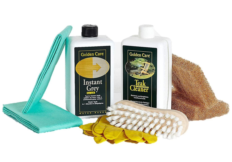 Golden Care Teak Instant Grey + Cleaner Holzpflegeset 8tlg. Holz Reiniger Holzschutz Holzpflege für Gartenmöbel