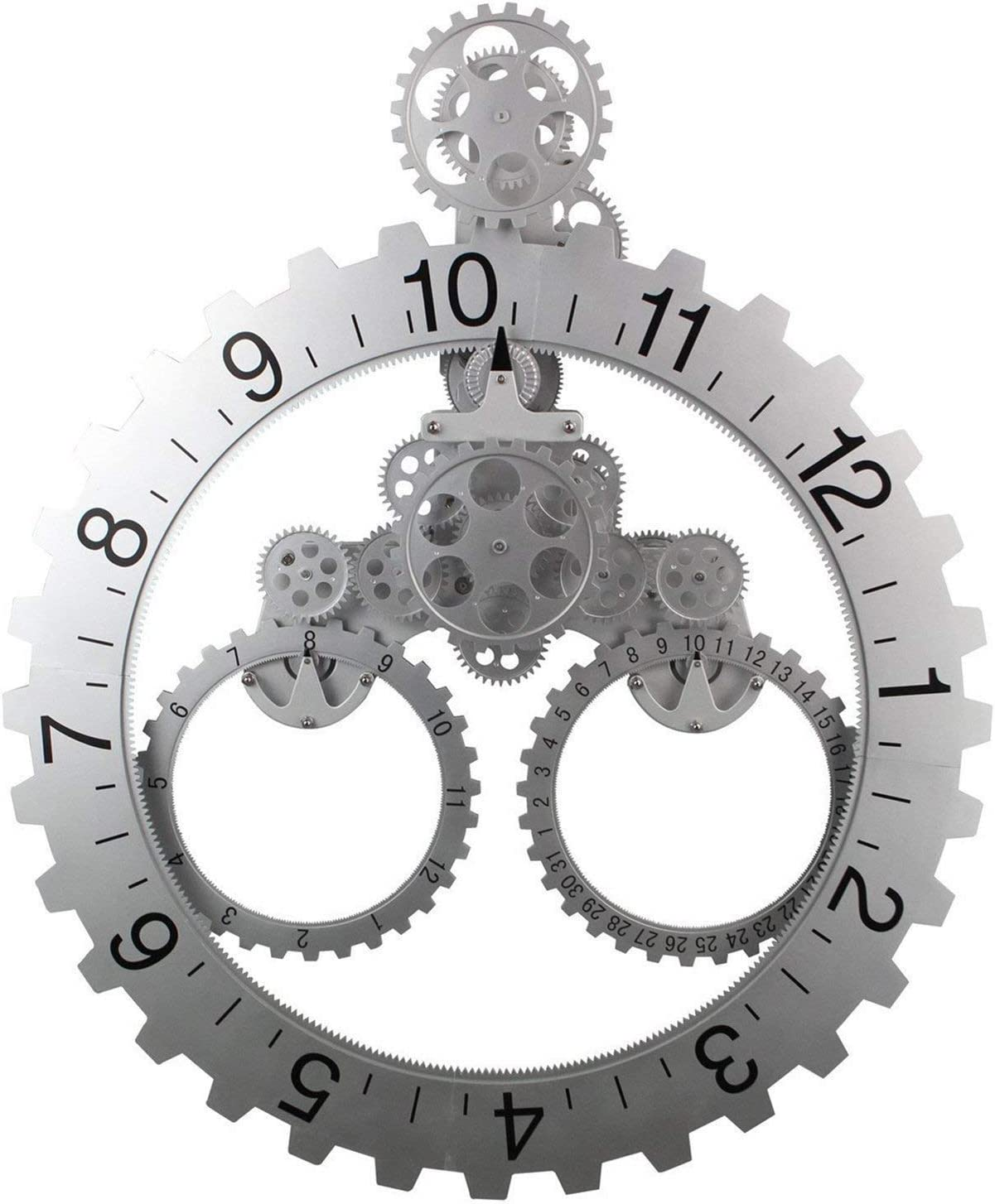 Gear Wall Clock with Moving Gears, Smart 3D, Quiet, Silent, Noiseless, Decorative with Premium Plastic Moving Clock for Office, Home, Kitchen, Bar, Modern Living Room Decor (Silver Sawtooth)