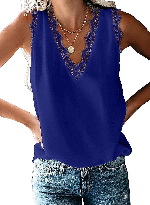 HARHAY Women's V Neck LaceTrim Casual Tank Tops Sleeveless Blouses Shirts