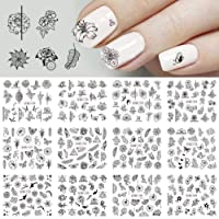 Niome Big Size Black Flowers Nail Art Stickers Water Transfer Finger Tips DIY Manicure Design Tool