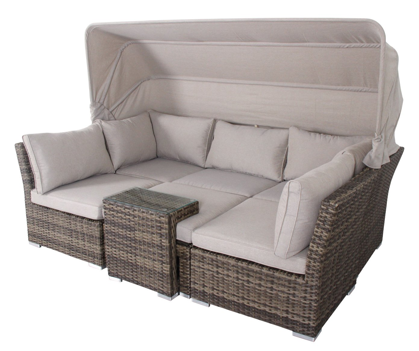 rattan lounge set provence liege sitzgruppe bank in einem. Black Bedroom Furniture Sets. Home Design Ideas