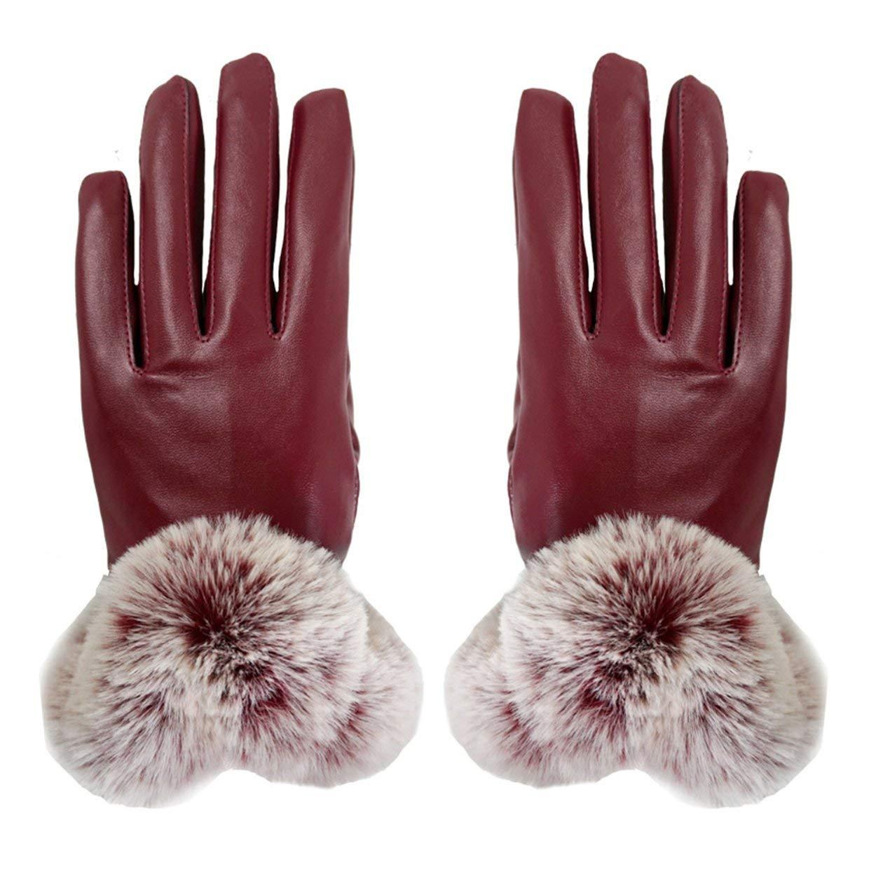 MXECO Signore simulato Finta Pelle di Coniglio Capelli U Tipo di Capelli Autunno e l'inverno Touch Screen Gloves PU Guanti Caldi Vita Rone