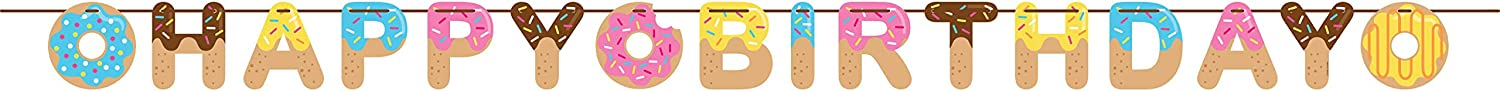 Creative Converting Donut Happy Birthday Ribbon Banner Party Supplies, Multicolor