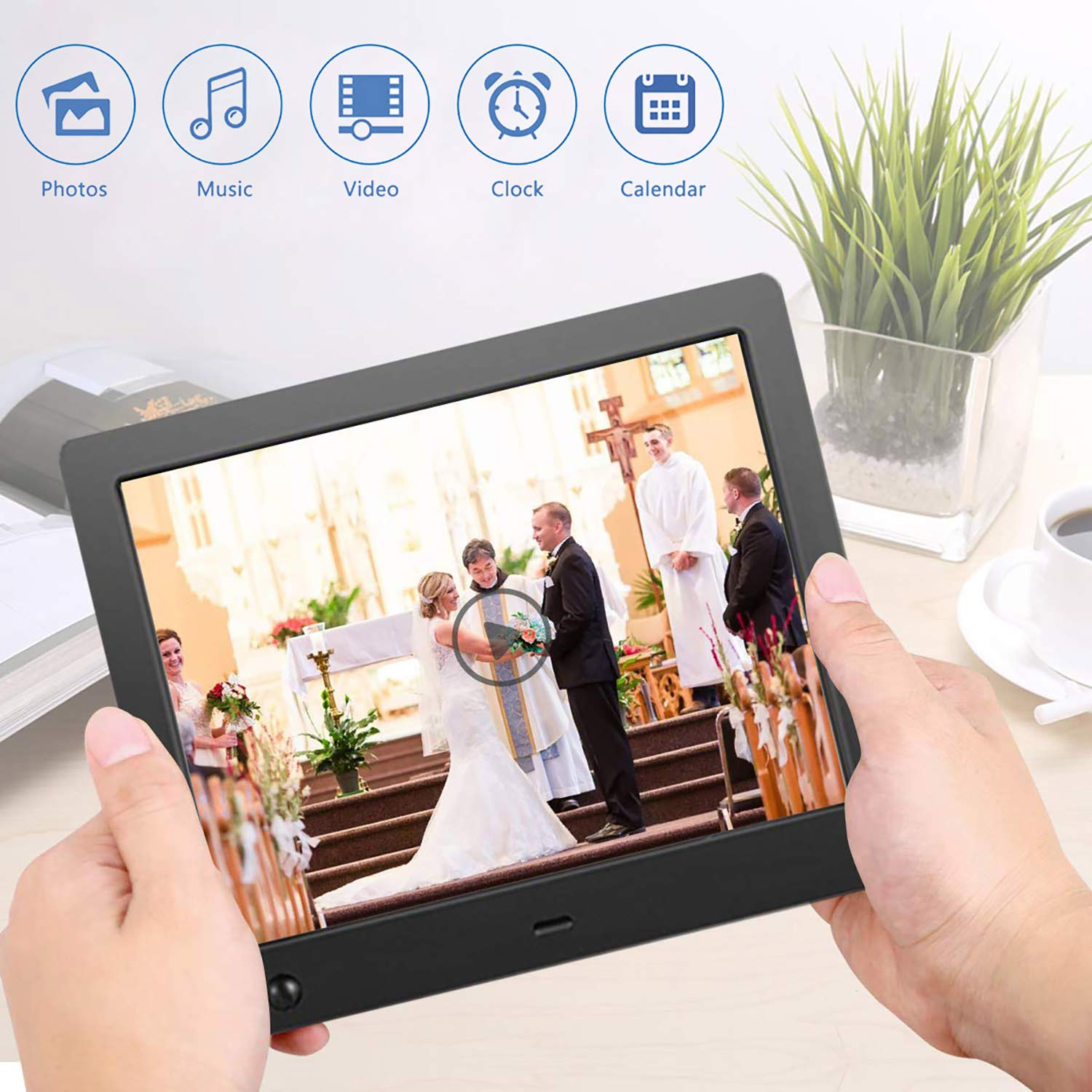 Digital Picture Frame 8 inch, Digital Photo Frame Video Player with Motion Sensor Smart Electronics Picture Frame High Resolution 1024x768 IPS LCD/1080P 720P /Stereo/MP3/Calendar/Time/Remote Control by Quality Life (Image #6)