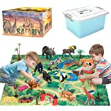 Safari Animals Figurines Toys with Activity Play Mat & Trees, Realistic Plastic Jungle Wild Zoo Animals Figures Playset with