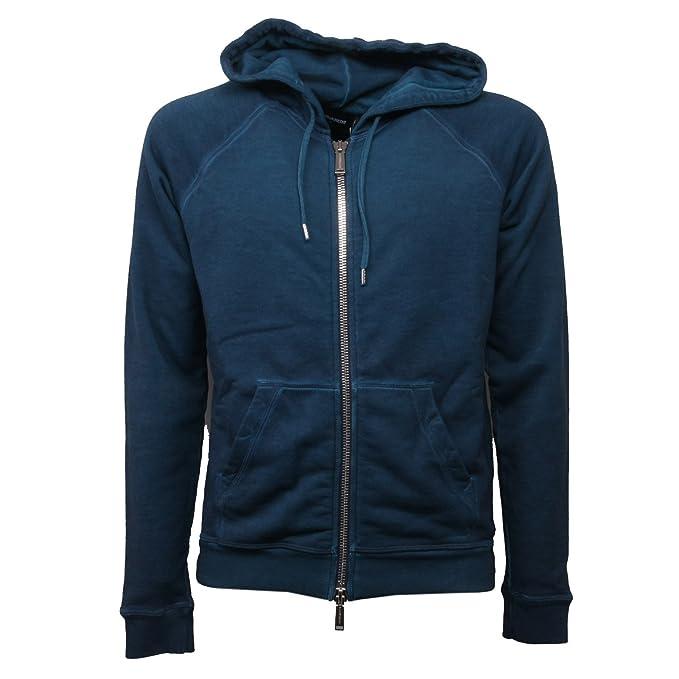 C0828 felpa uomo DSQUARED turchese vintage effect con zip sweatshirt men: Amazon.es: Ropa y accesorios