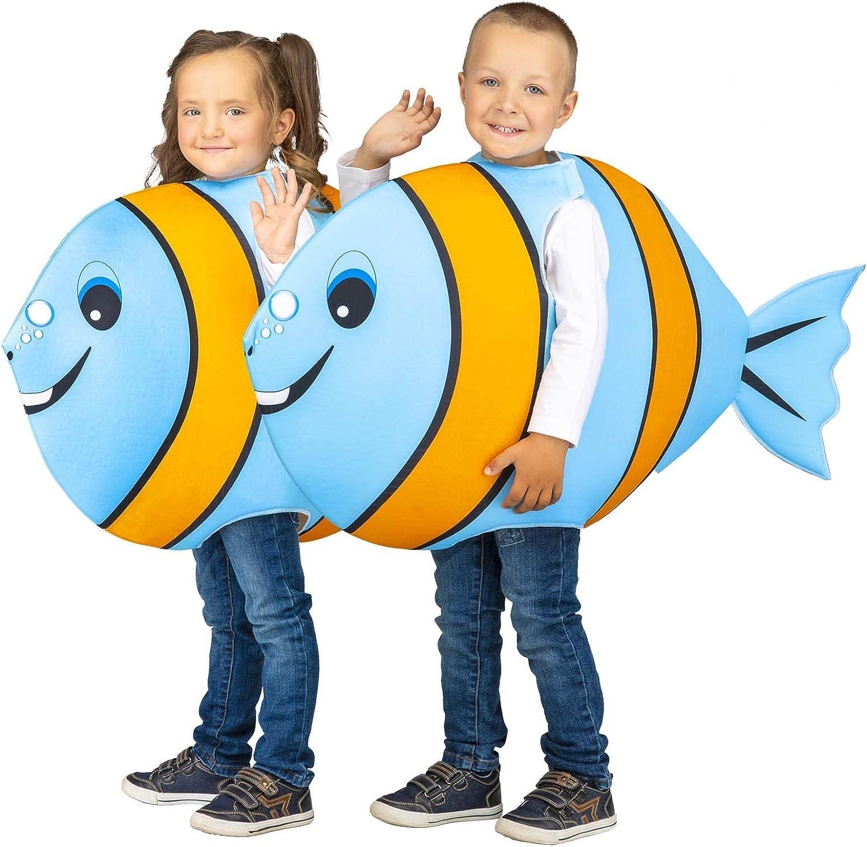 My Other Me Disfraz de Pez Azul y Naranja para niños: Amazon.es ...