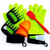 Ezyglobe's BBQ Set With Heat Resistant Insulated Silicone Gloves, Meat Claws Oven Mitts Oil Bottle with Basting Brush & Spatula with Free Bonus E Recipe Book. Ideal for Barbecue, Grilling, Kitchen Baking.
