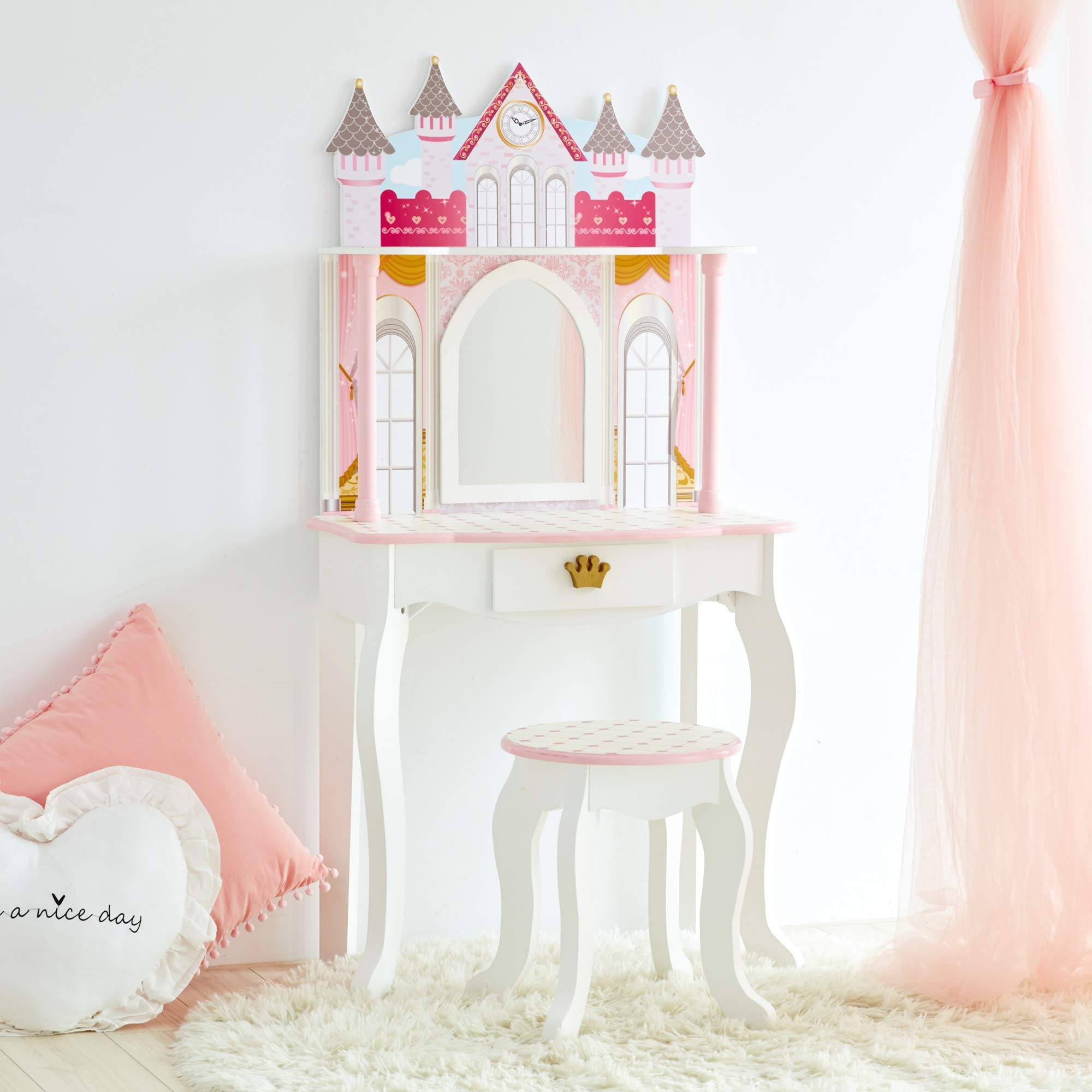 Teamson Kids - Dreamland Castle Kids Vanity, Wooden Vanity Table and Stool Set - White/Pink by Teamson Kids