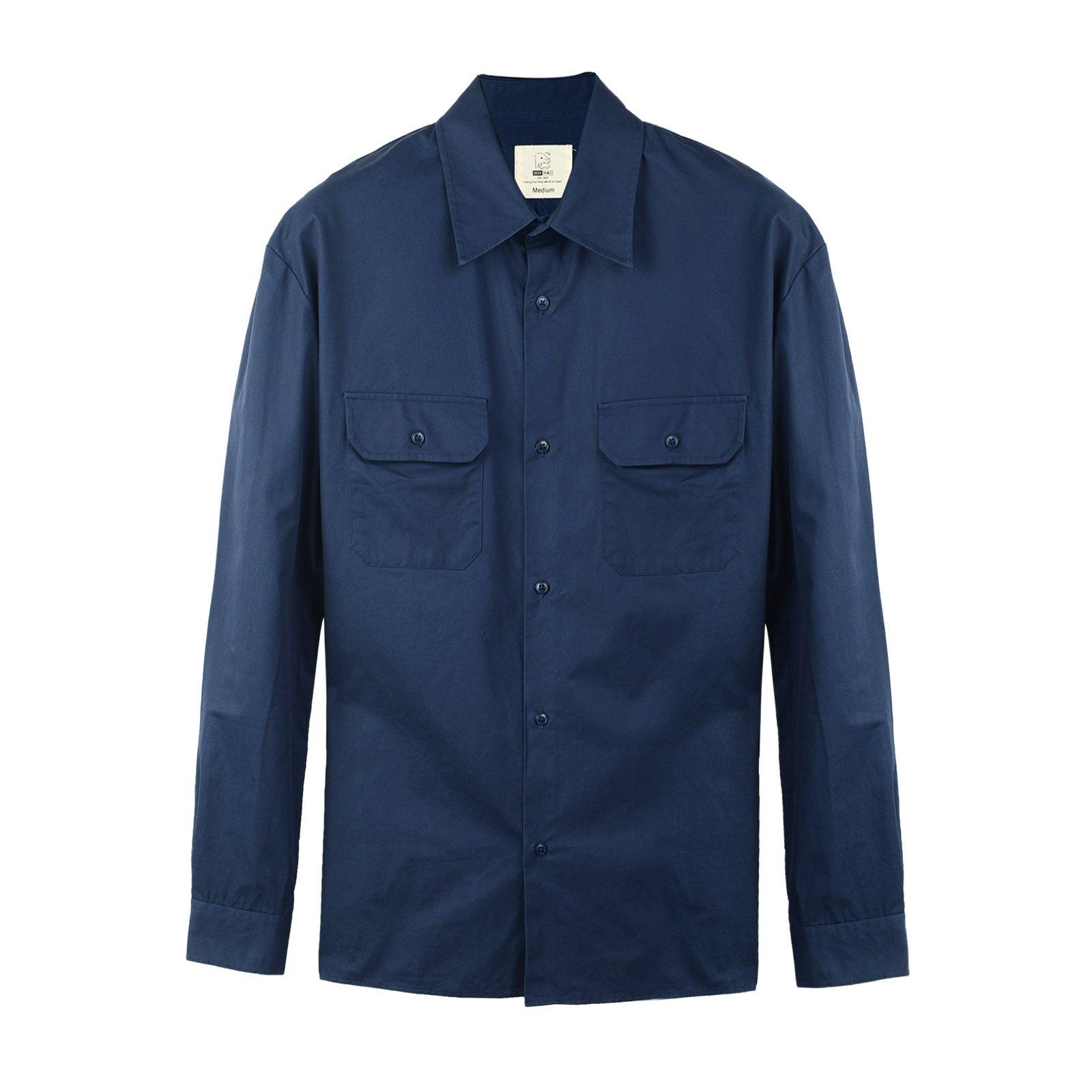 Seeksmile Men's Long Sleeve Cotton Work Shirt (Large, Navy Blue)