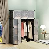 KOUSI Portable Closet Clothes Wardrobe Bedroom Armoire Storage Organizer  With Doors, Capacious U0026 Sturdy,