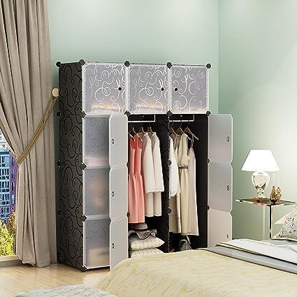 KOUSI Portable Closet Clothes Wardrobe Bedroom Armoire Storage Organizer with Doors Capacious \u0026 Sturdy & Amazon.com: KOUSI Portable Closet Clothes Wardrobe Bedroom Armoire ...