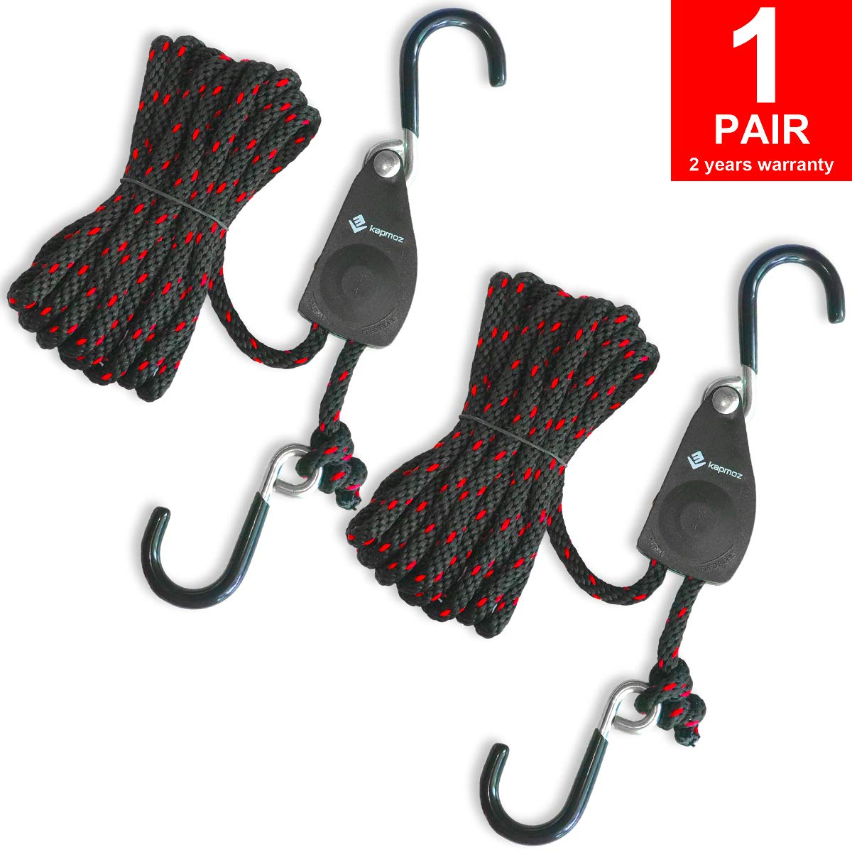 LE KAPMOZ Kayak Tie Down Straps Canoe Bow and Stern Heavy Duty Cargo Ratchet Pulley Rope Hanger (Black Vinyl Coated, 12) by LE KAPMOZ