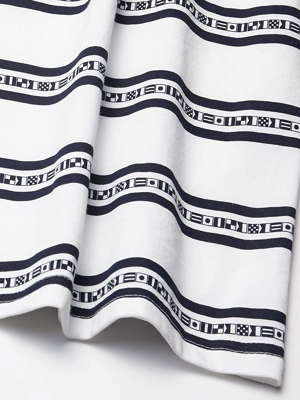 Nautica Boys Short Sleeve Striped Logo Printed Crew Neck T-Shirt