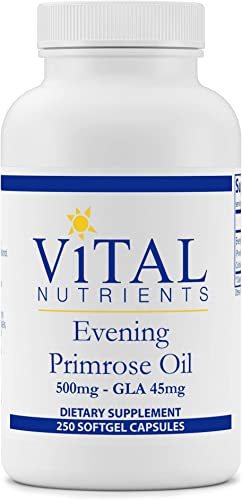 Vital Nutrients – Evening Primrose Oil 500 mg – Cold-Pressed Oil That Contains GLA, an Essential Omega-6 Fatty Acid – 250 Softgels per Bottle