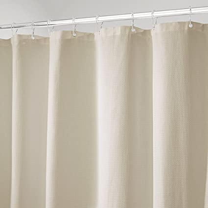 Amazon.com: mDesign Cotton Blend, Luxury Hotel Fabric Shower Curtain ...