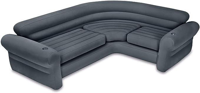 Intex Inflatable Corner Sectional Sofa w/ 120V Quick Fill AC Electric Air Pump