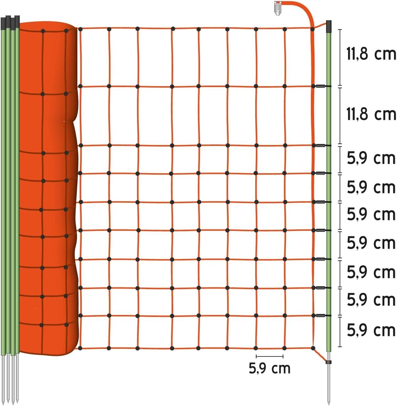 Weidezaun 65cm VOSS.farming 50m Wildschutz-Netz zur Abwehr gegen Fischotter Garteneinz/äunung Beetschutz Hundezaun Katzenzaun 1 Spitze Weidezaunnetz H/ühnerzaun