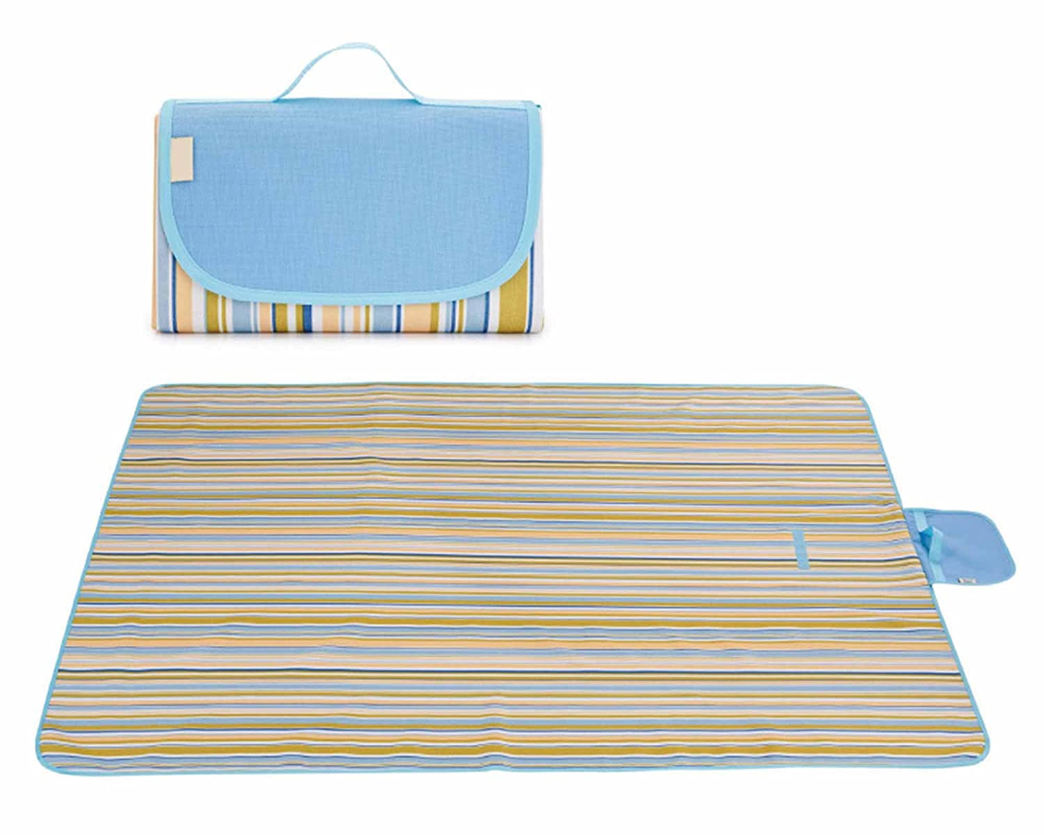 Skyblueee strip 145200cm Picnic Pad Mat Moisture Proof Blanket Outdoor Wild Donkey Beach Tent Carpet Waterproof Picnic Cloth with Handle