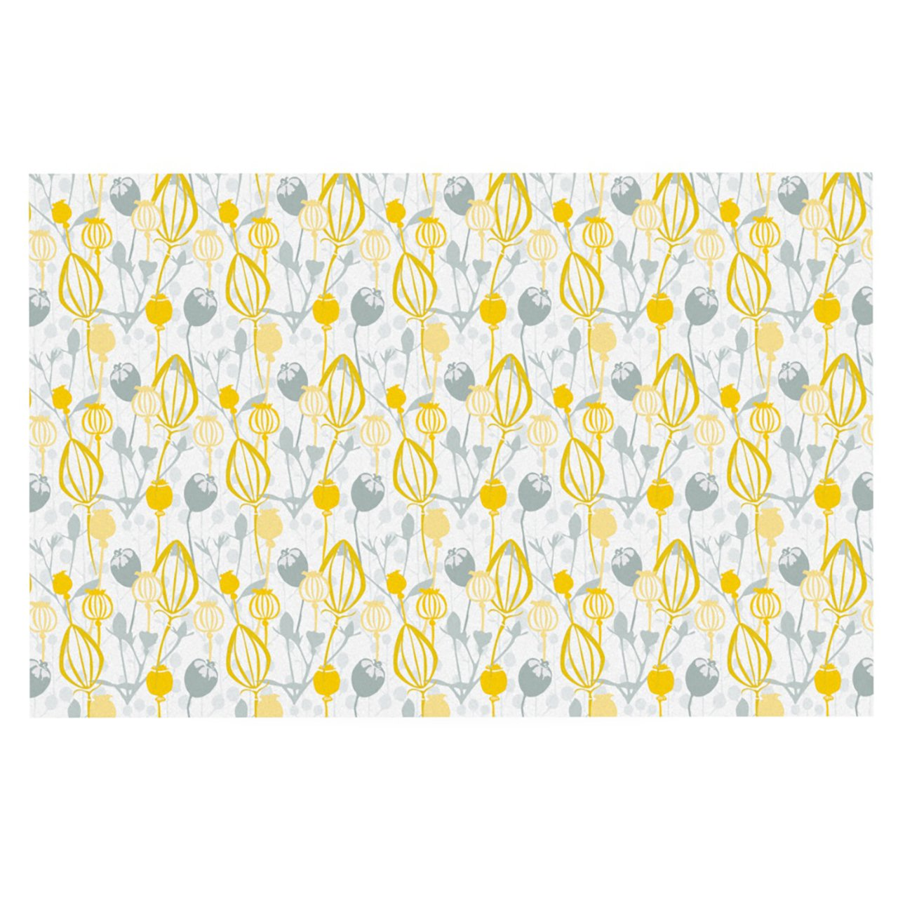 Kess InHouse Julie Hamilton ''Willow Wisp'' Yellow Gray Feeding Mat for Pet Bowl, 18 by 13-Inch
