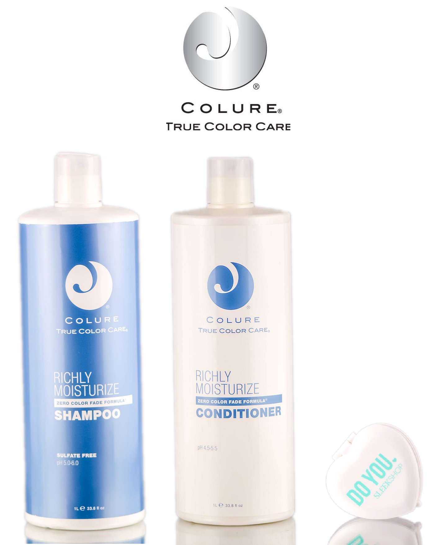 Colure True Color Care Richly Moisturize Shampoo & Conditioner DUO Set (with Sleek Compact Mirror) (33.8 oz Liter Large Kit) by COLURE