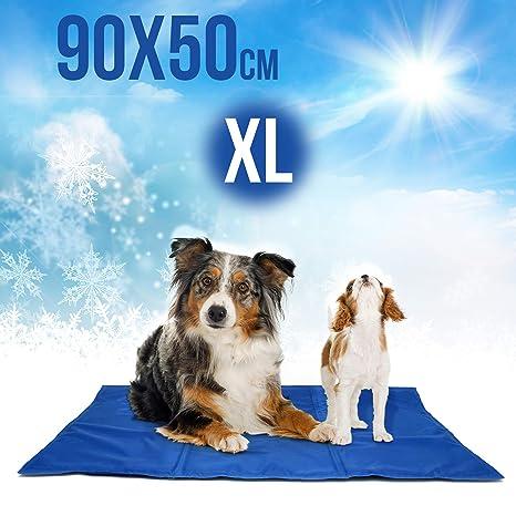 Alfombrilla refrigeración animales perros y gatos | Manta térmica enfriamiento para perros en verano | Cama fresca de 90x50cm para perros resistente a ...
