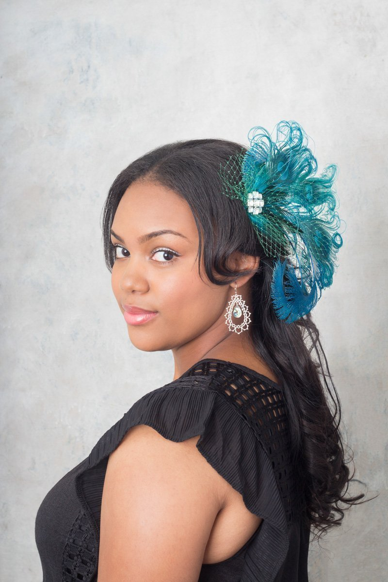 Turquoise Peacock Feather Hair Clip with Vintage Veil by Deanna DiBene Millinery