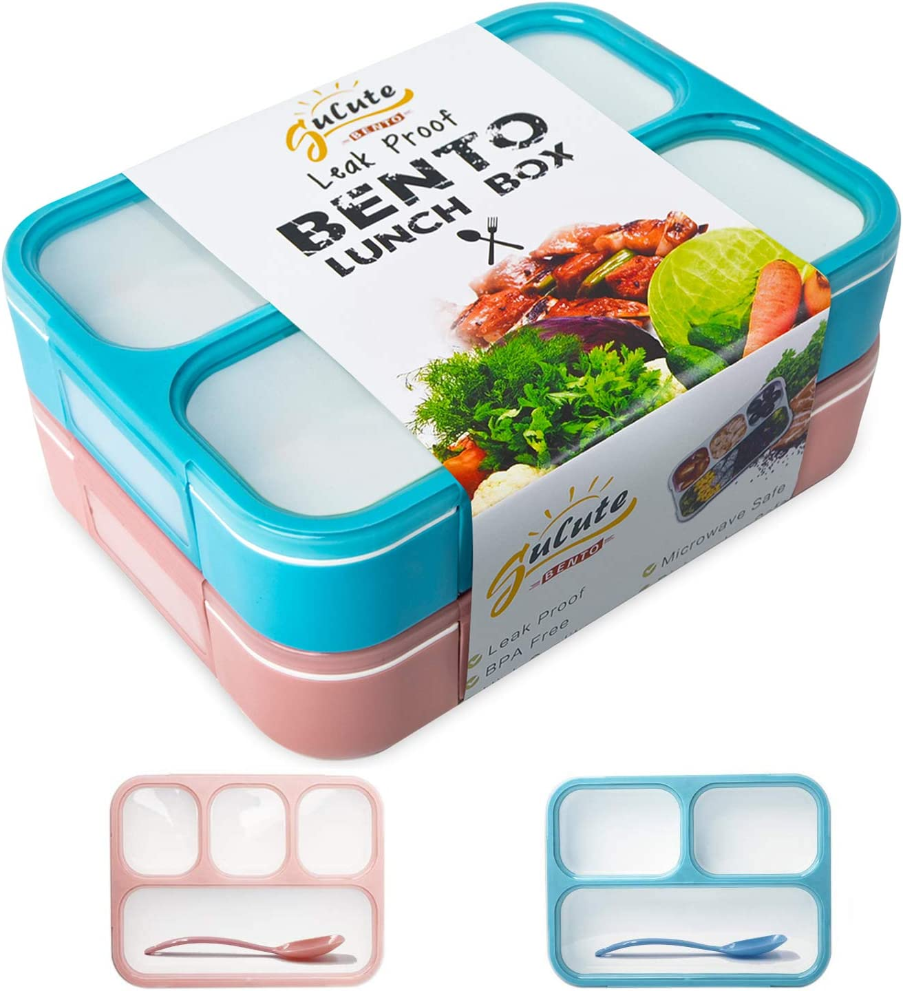 Bento Lunch Box Set [2 Pack] | 3 & 4 Compartment Bentobox Combo for Kids and Adults with Leakproof Design | BPA-Free, Microwave Safe, Dishwasher Safe Lunchbox for Meal Prep