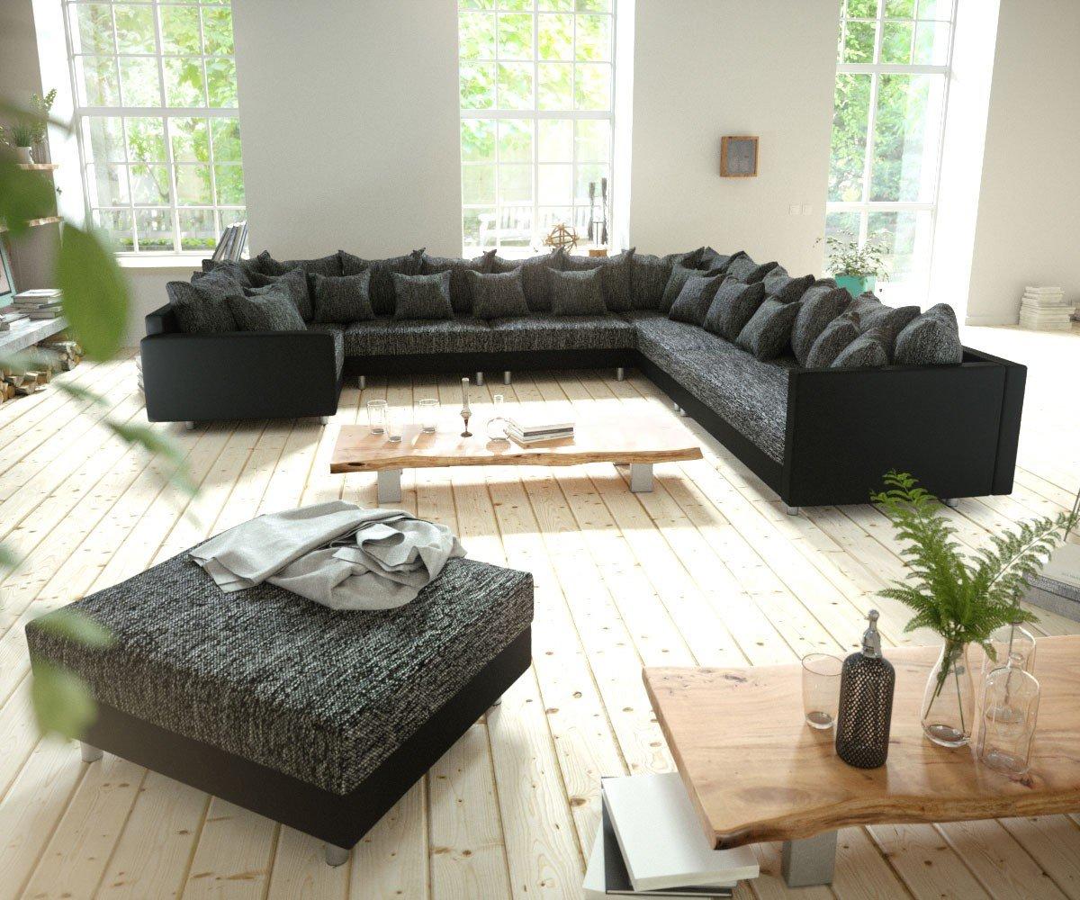 Couch Clovis Xxl Schwarz Hocker Armlehne Ottomane Rechts