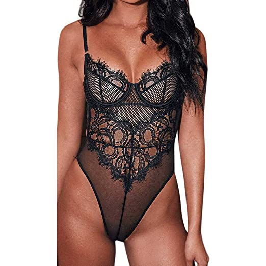 f0d72654e9 ILUCI Sexy Lingerie For Women For Sex Clearance Women s Lace Teddy One  Piece Babydoll Mini Plus